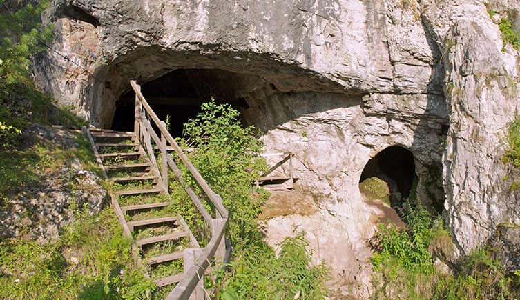 The cave in the Altai Mountains where the Neanderthal woman's bone was uncovered
