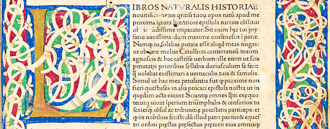 Historia Naturalis page with decorated letter L