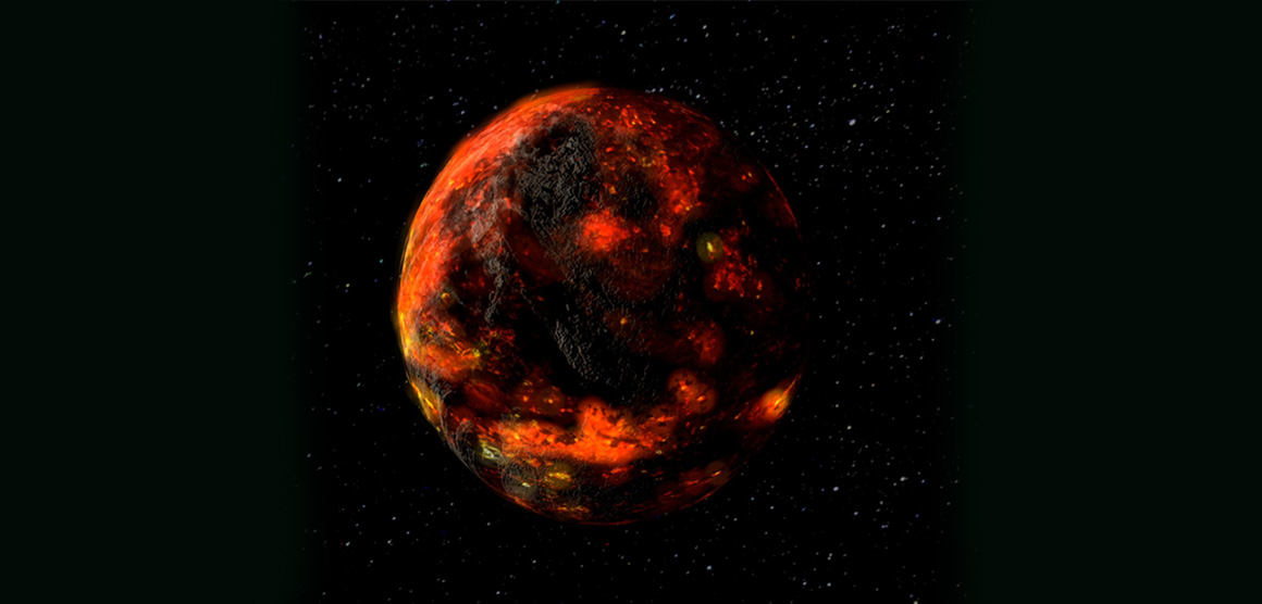 An artist's impression of the lunar magma ocean