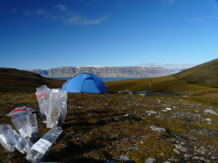 The team's camp in Spitsbergen in Norway
