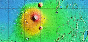 How did the largest volcanoes in the solar system grow on Mars?