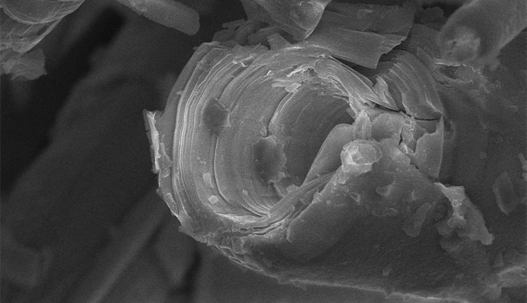 A scanning electron microscope image of a broken merelaniite whisker
