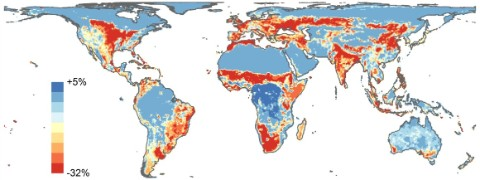 Map illustrating drops in biodiversity across the world.
