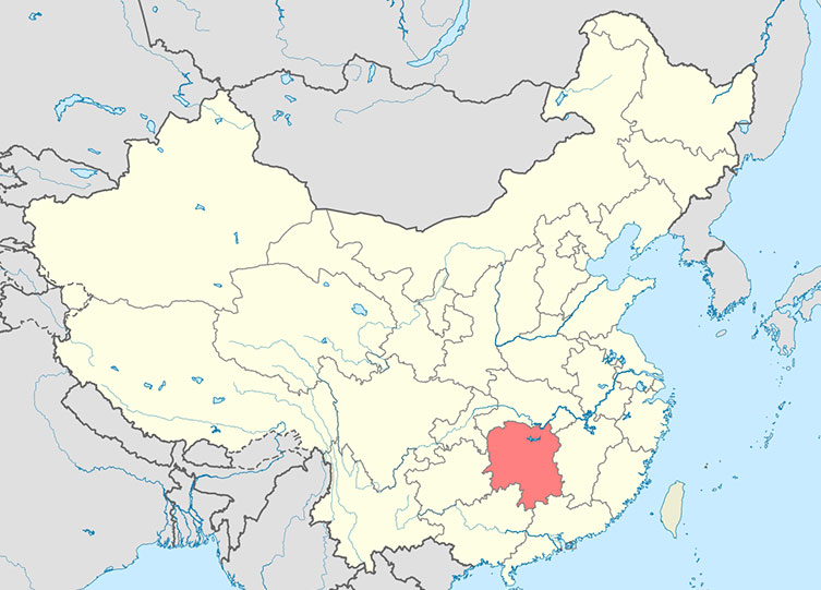 Map of China with Hunan Province highlighted in red