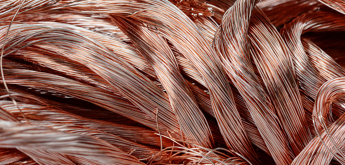 Pile of scrap copper wire