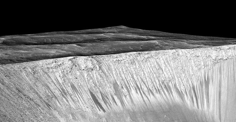 Gullies probably made by flowing water on Mars's Garni Crater