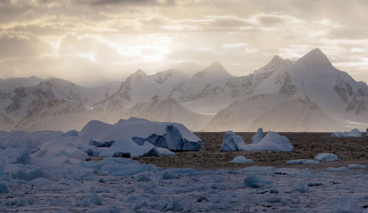 View of Antarctic ice and mountains