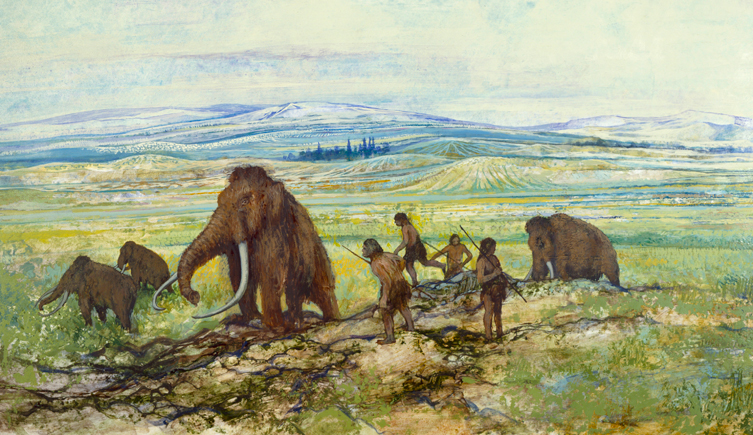 Painting of mammoths and early humans