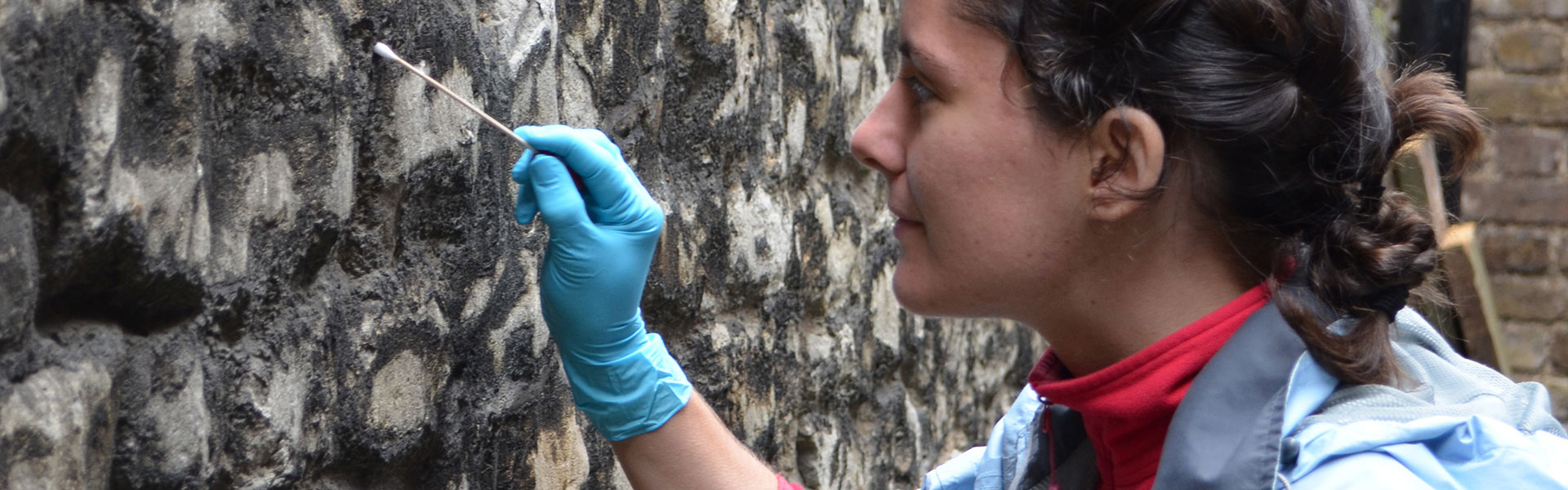 Person swabbing the wall of the Tower of London for the Microverse project