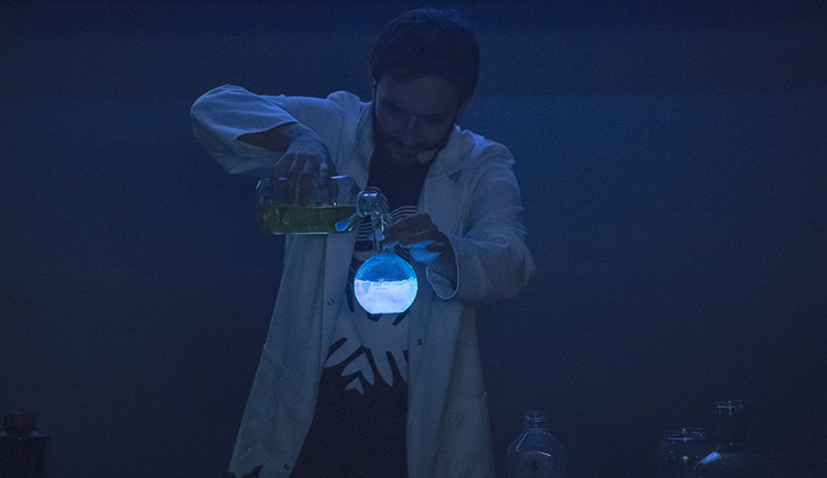 A science show at Dino Snores for Grown-ups