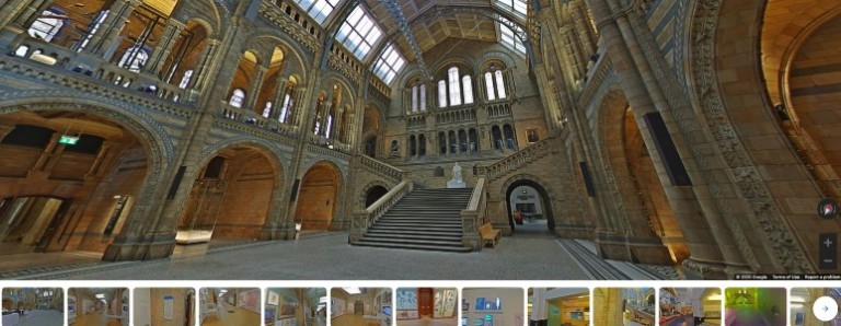 A screenshot of a 360 video of Hintze Hall showing thumbnail images of other galleries along the bottom.