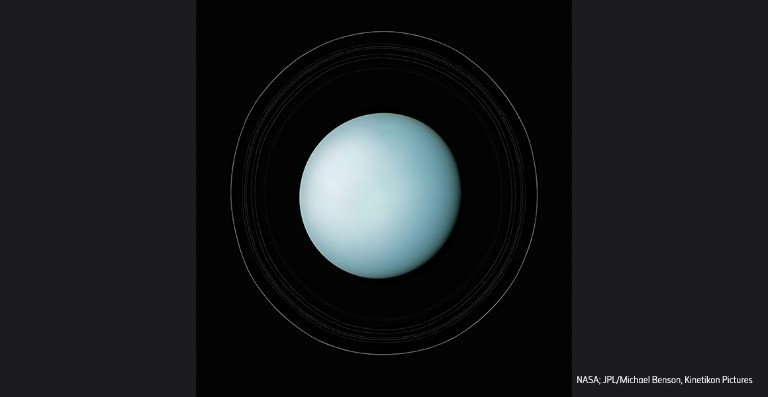 Photo of Uranus, with its rings forming a halo around the planet.