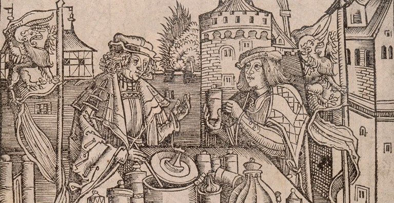 A woodcut showing and apothecary preparing the drug theriac, which often included snake.
