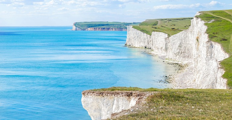View of the Seven Sisters chalk cliffs of southern England