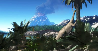 Artists impression of a dinosaur scene from the Triassic Period