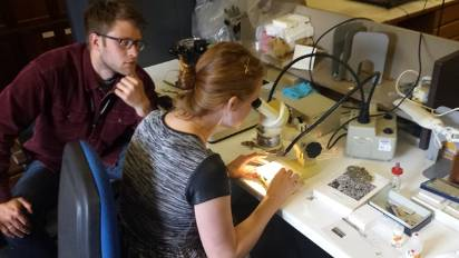 Mike & Chloe back in the lab working on their lichen ID.jpg