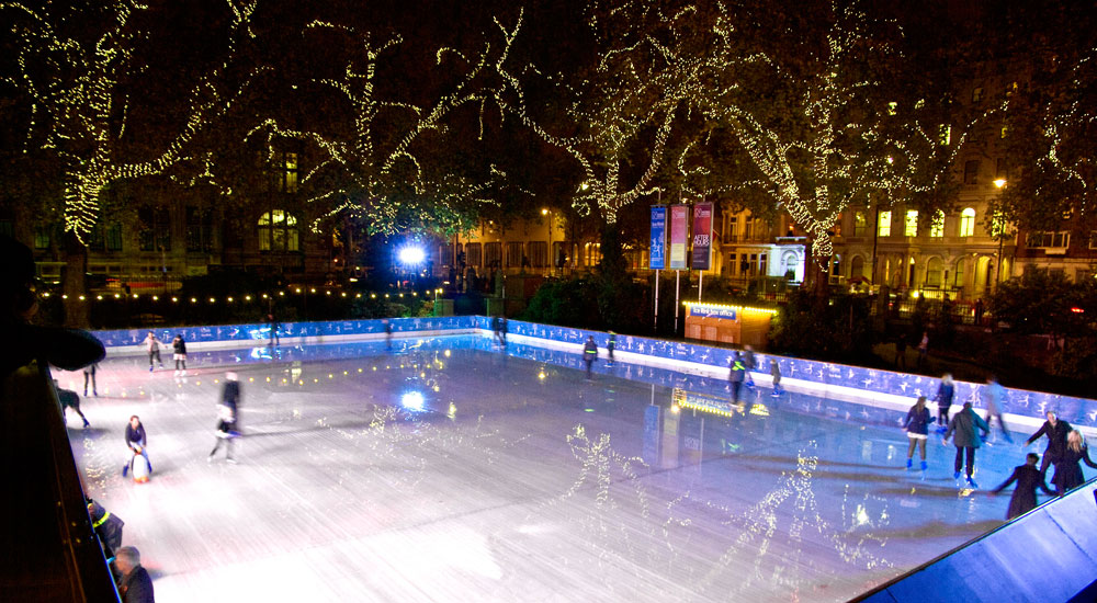 76 000 lights provide the twinkling canopy for the ice rink that