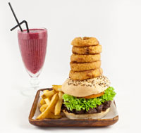 Burger, onion rings and smoothie from The Restaurant at The Natural History Museum