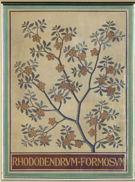 Ceiling panel depicting rhododendron