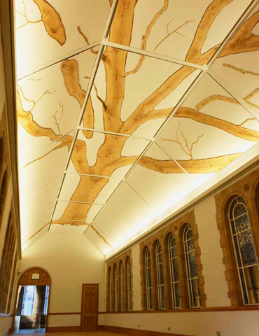 The TREE installation inlaid in the ceiling