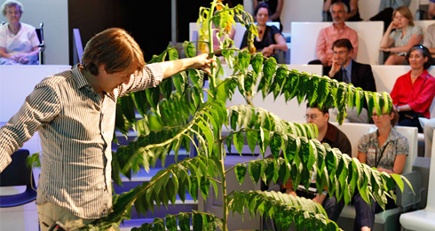 A scientist giving a demonstration with a tree in a Nature Live talk