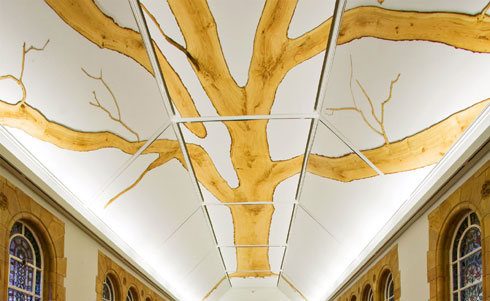 The tree-top branches of Tania Kovats ceiling installation
