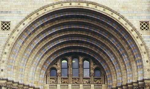 The rounded arches of the main entrance.