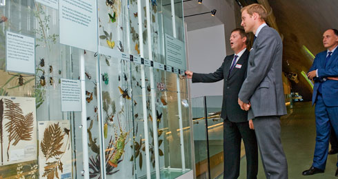 Prince William accompanied by Museum director, Mike Dixon on the Cocoon tour