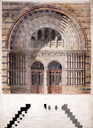 Sketch showing Alfred Waterhouse's design for the Natural History Museum entrance