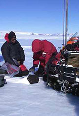 Collecting meteorites in Antarctica with ANSMET.