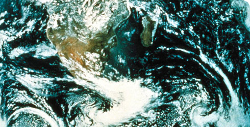 A satellite image of the Earth's atmosphere