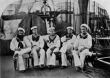 A photograph of sailors on board HMS Challenger