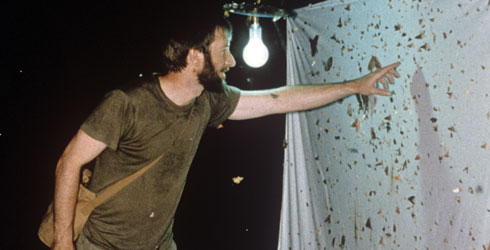 Dr Gaden Robinson using a light to attract moths in Brunei