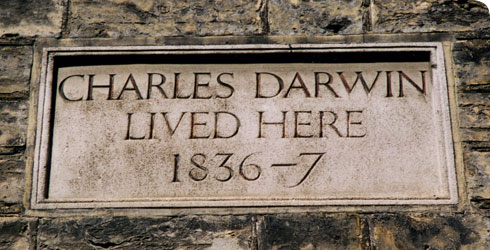 Plaque marking Darwin's house in Cambridge