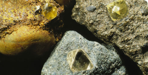 Diamonds occurring naturally in 3 different types of rock, from Namaqualand and Siberia