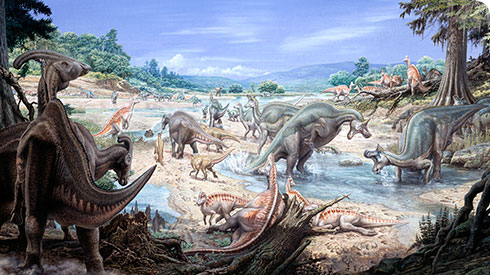 Illustration of a herd of various duck-billed dinosaurs