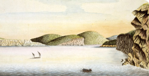 First Fleet drawing depicting the colonists' first view of Port Jackson harbour, Australia