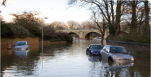 A flooded road near Richmond, London