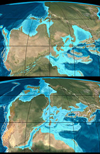 Earth's northern hemisphere 220 million years ago (top) and 200 million years ago (bottom)