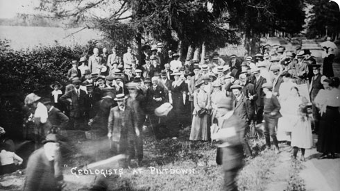 Geologists' Association party visiting the pit at Piltdown, Sussex, on 12 July 1913