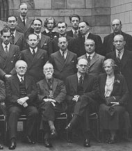 Close-up of Dorothea Bate (front right) in a photograph of the Museum's Geology Department in 1938