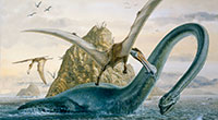 Both pterosaurs and plesiosaurs became extinct at the end of the Cretaceous Period