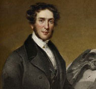 Portrait of Gideon Mantell (1790-1852) with Iguanodon bone