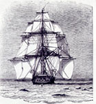 Drawing of HMS Beagle from 'A Naturalist's Voyage Round the World' 1912 by Charles Darwin