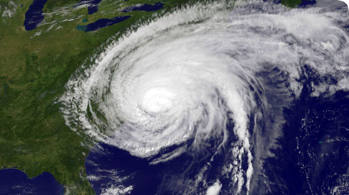 Hurricane Irene as seen by the GOES-13 satellite in August 2011