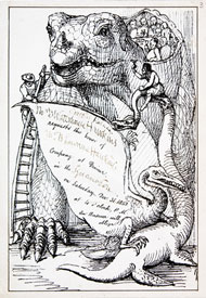 Invitation to a dinner inside an Iguanodon model on New Year's Eve in 1853