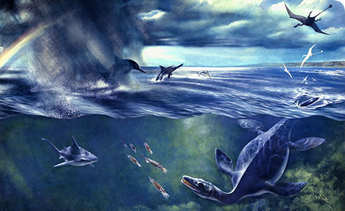 Artist's impression of the sea and sky during the Jurassic Period (201-145 million years ago)