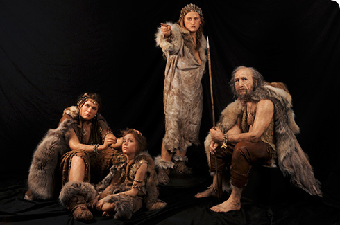 Reconstruction of a group of modern humans like those who lived in Britain about 15,000 years ago