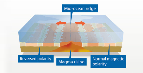 Diagram showing magnetic striping - evidence for sea floor spreading
