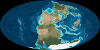 Map showing the position of landmasses and oceans on Earth 260 million years ago